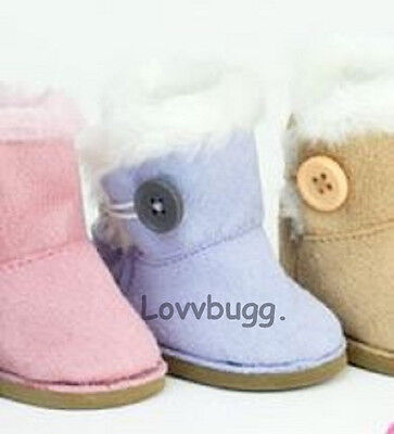 "Lovvbugg Lavender Button Shearling Ewe Uggly Boots for 18"" American Girl or Bitty Baby Doll Shoes"
