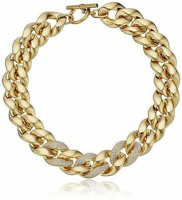 MICHAEL KORS MKJ4547 Gold Crystal Glitz Pave Oversized Chain Necklace MKJ4547710