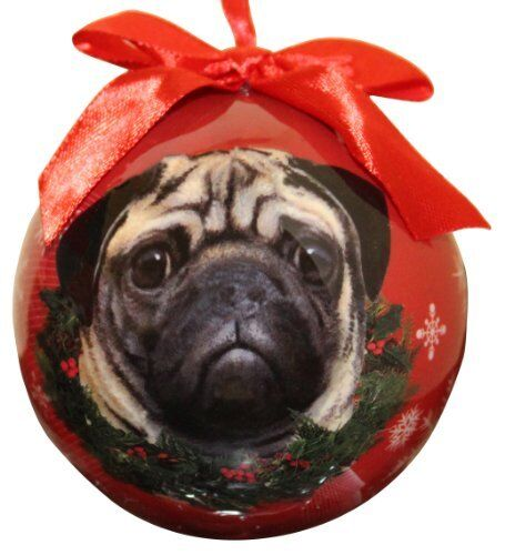 Pug Christmas Ornament Shatter Proof Ball Easy To Personalize