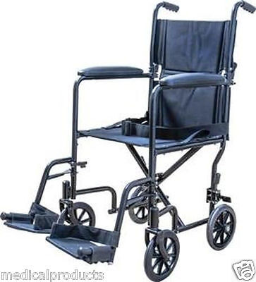 "NEW Folding Transport Chair Wheelchair with Leg Rests and 19"" Seat by Cardinal"