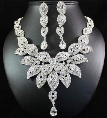 Floral Austrian Rhinestone Crystal Bib Necklace Earrings Set Wedding Prom N21