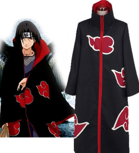 Naruto Akatsuki Uchiha Itachi Costume Robe Cloak Cape for Cosplay Size: M Medium