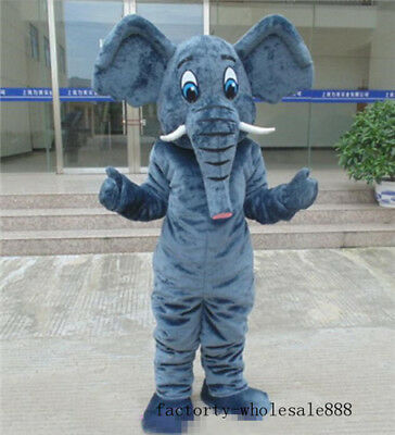 Birthday Suit Halloween Costumes (Elephant Mascot Costumes Dress Halloween Outfit Suit Adults Size Birthday)