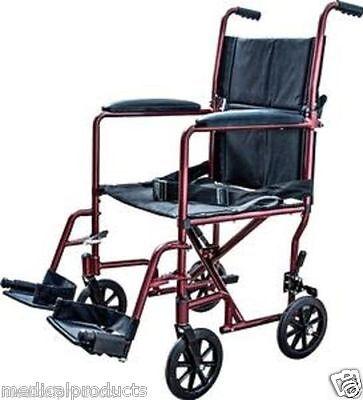 Super Lightweight Burgundy Aluminum Transport Chair WheelChair by Cardinal 19 lb