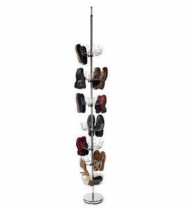 Rangement 36 paires chaussures adultes ou enfants en métal tres solide tournant avec base lourde et aappui au plafond