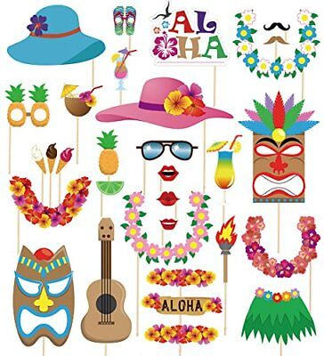 60pcs Luau Photo Booth Props Summer Pool Party Hawaiian/Tropical/Tiki/ Decor