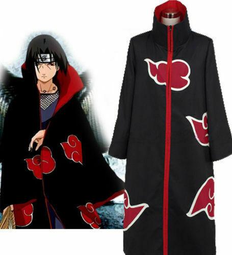 Naruto Akatsuki Uchiha Itachi Costume Robe Cloak Coat Cosplay Size: 4