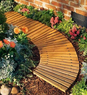 Curved Garden Pathway Portable Roll Out Cedar Wood Walkway Planks Weather Lawn  ()