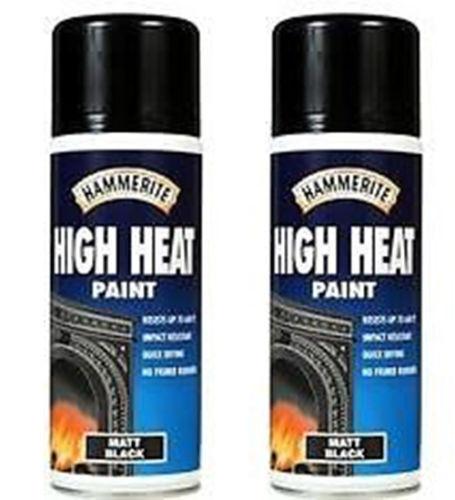 Hammerite MATT BLACK High Heat Aerosol Paint Spray 2 x Cans 400ml