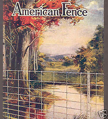 FARM FENCE ADVERTISING,AMERICAN STEEL & WIRE,FENCE POST,AUTUMN,FALL  POSTCAR