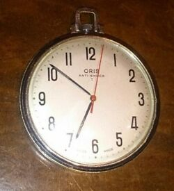 Vintage Swiss Made Oris Large Pocket Watch Silver Steel Art Deco Beige Face Retr