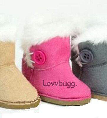 "Lovvbugg Hot Pink Fur Button Shearling Ewe Uggly Boots for 18"" American Girl or Bitty Baby Doll Shoes"