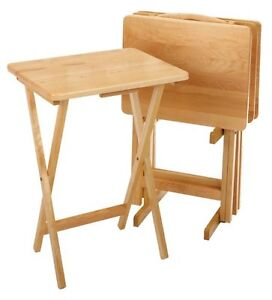 Superb 5Pc TV Tray Table Set Wood Stand End Folding Furniture Serve Snack Dinner  Coffee