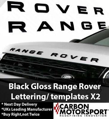 2X GLOSS BLACK RANGE ROVER LETTERING SPORT P38 L322 BADGE BOOT OR BONNET EVOQUE