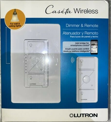 Lutron Caseta Wireless Smart Lighting Dimmer Switch and Remote Kit P-PKG1W-WH-R