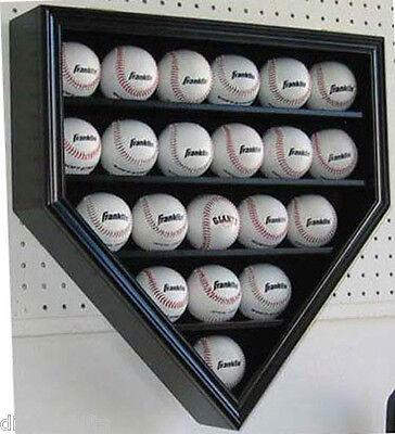 21 Baseball display Case Cabinet Box, UV Protection,  LOCKABLE- B21(UV)-BLACK
