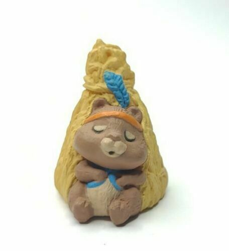 "Hallmark Merry Miniatures Chipmunk Cornstalk TeePee 1990 1.5"" Thanksgiving NEW"