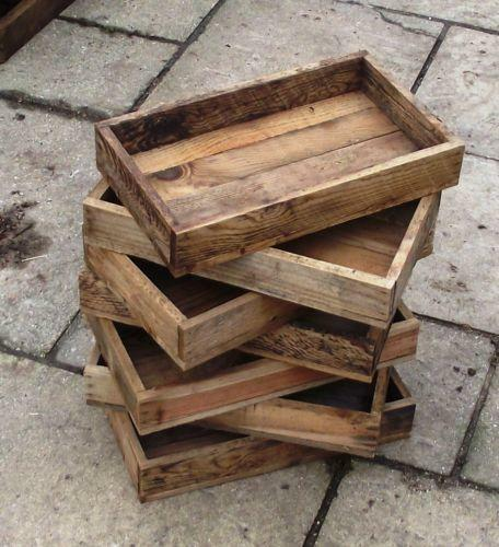 Wooden seed trays ebay for Wooden canape trays