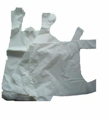 100 x SMALL WHITE PLASTIC VEST CARRIER BAGS 10x15x18