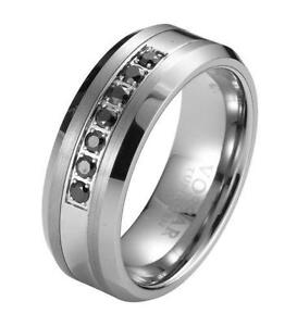 mens black diamond wedding band