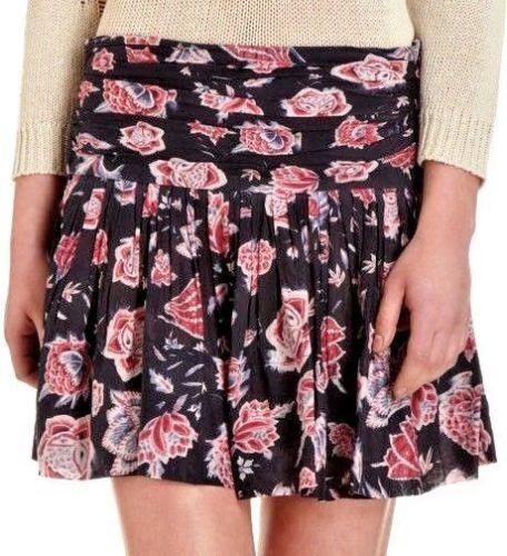 New Isabel MARANT black red floral skirt 40 US M 6 8