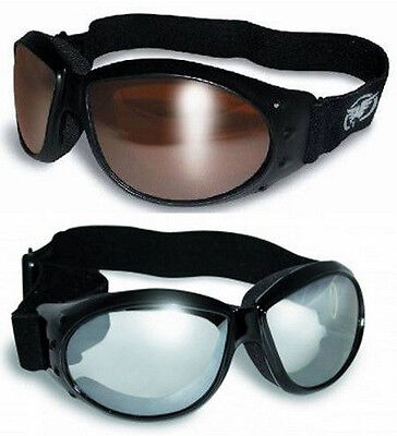 2 Padded Motorcycle Goggles Off Road DRM & Clear Mirrored Red Baron NWT Moped