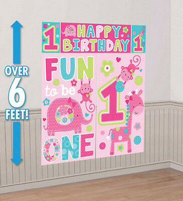 Girl 1st Happy Birthday Scene Setter first Party wall decoration Jungle animals (Jungle Scene Setter)