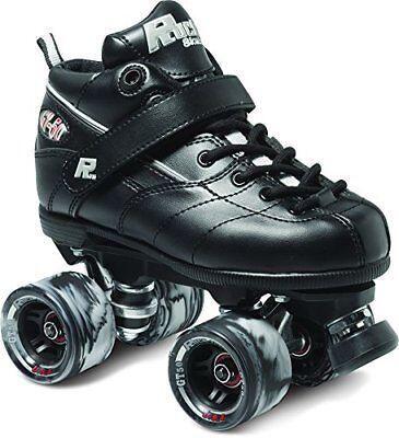 - Black GT-50 Quad Roller Speed Skates w/ Black Swirl Wheels
