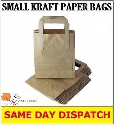 100 SMALL BROWN KRAFT PAPER CARRIER BAGS SOS 7x3.5x8.5