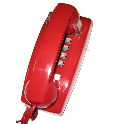 Red Basic Kitchen Wall Mount Corded Phone Bell Ringer Bell Powered 2554-V-RD New