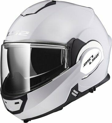 LS2 Valiant FF399 Solid Modular Motorcycle Helmet Flip Up Gloss White XS](Square Up Store)