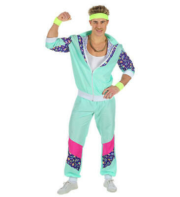 80s Outfit Male (Mens Male 80S Shell Suit Tracksuit Blue Adult Fancy Dress Costume Outfit)
