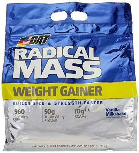GAT RADICAL MASS Weight Gainer 10 LBS Vanilla Milkshake Weig