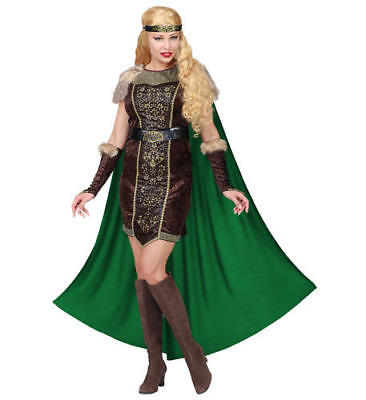 Womens Ladies Lady Viking Queen PrincessAdult Fancy Dress Costume Outfit (Womens Viking Queen Kostüm)