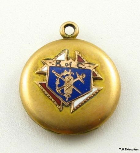 K of C Vintage Fraternal Locket Charm - Fob Pendant Member Collectible