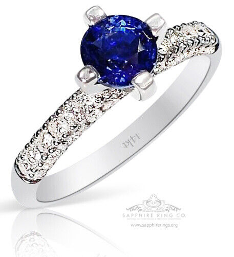 Certified 14kt White Gold 1.30tcw Blue Round Cut Natural Sapphire & Diamond Ring