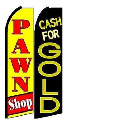 Pawn Shop Cash For Gold King Size Polyester Swooper Flag Pk Of 2