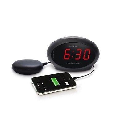 New Sonic Bomb Sonic Alert Sonic Traveler Alarm Clock w Shaker & USB SA-SBT600SS