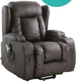 Leather raiser/recliner chair with massage and heat functions (unused)