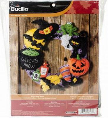 Bucilla Felt Kit, Witch's Brew Wreath, 17in embroidery, Pumpkin, Halloween, - Bucilla Halloween Wreath