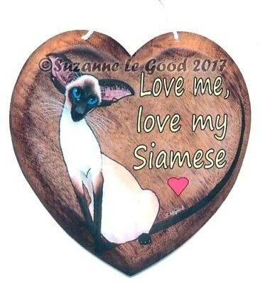 Siamese cat art sign heart from original painting laminated by Suzanne Le Good