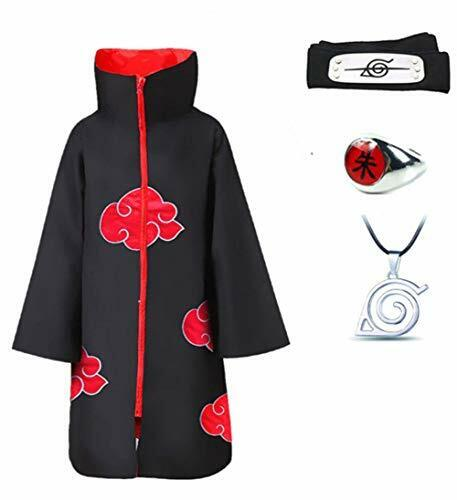 4Pcs Cosplay Akatsuki Cloak Costume with Headband Necklace and Ring Itachi Cospl
