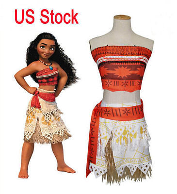 New Disneys Moana Princess Cosplay Costume Halloween 4Pc Set Size 3 12 Year Old