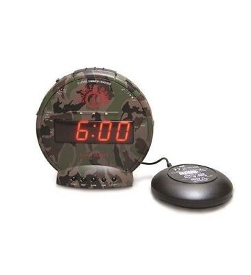 New Sonic Bomb SA-SBC575SS Bunker Bomb Alarm Clock w/ Bed Shaker in Camouflage