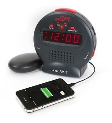 New Sonic Alert Sonic Bomb Jr. Alarm Clock with Super Shaker USB SA-SBJ525SS