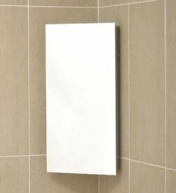 Stainless steel corner bathroom cabinet with mirror