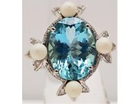 18ct White Gold Blue Topaz Cocktail Ring with Pearls & Diamond - Size L