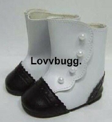 "Lovvbugg Black n White Victorian Boots for 18"" American Girl n Bitty Baby Doll Shoes"