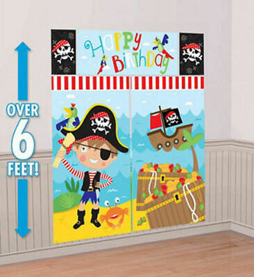 LITTLE PIRATE Scene Setter HAPPY BIRTHDAY party wall decoration treasure ship