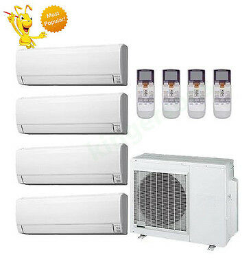 12k + 12k + 12k + 12k Btu Fujitsu Quad Zone Ductless Wall Mount Heat Pump AC